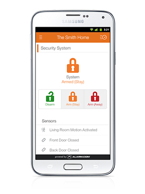 home security system access through phone app